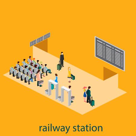 railway station: Isometric interior of railway station Illustration