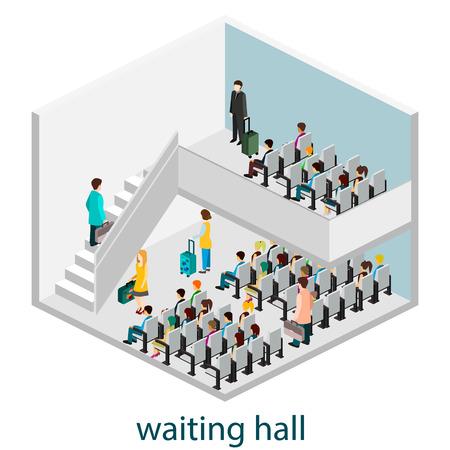 railway station: Isomeric interior of waiting hall in waiting hall or  railway station. Illustration