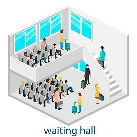 intérieur isomérique de la salle d'attente dans le hall ou gare d'attente. Vecteurs