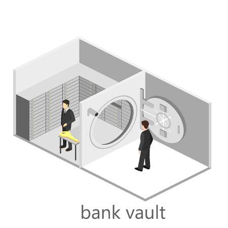 bank vault: Isometric interior of bank vault