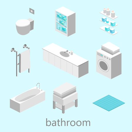 bidet: Isometric interior of bathroom Illustration