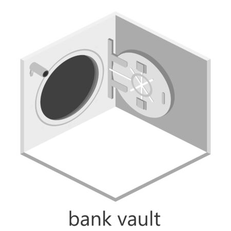 bank vault: isometric interior with open a bank vault and businessman