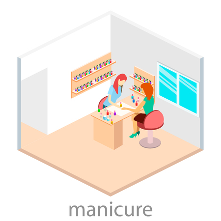 nail salon: Isometric interior of nail salon Illustration