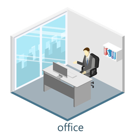 isometric interior of director's office Vectores