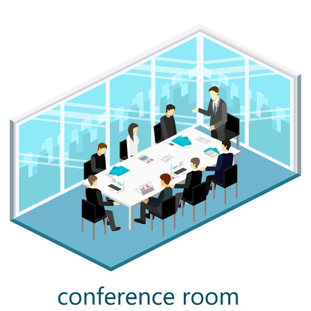 Flat 3d web isometric office meeting room