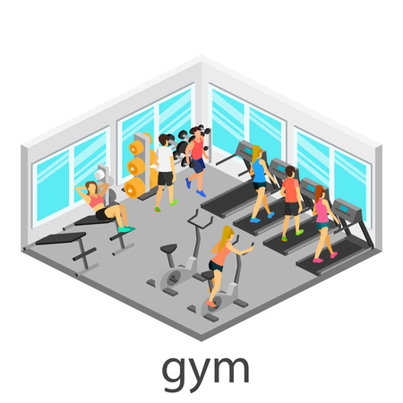 sports club: Isometric interior of gym. People involved in sports