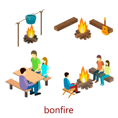 Isometric object for camping.People sitting around the campfire