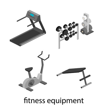 gym room: Isometric interior of gym. People involved in sports