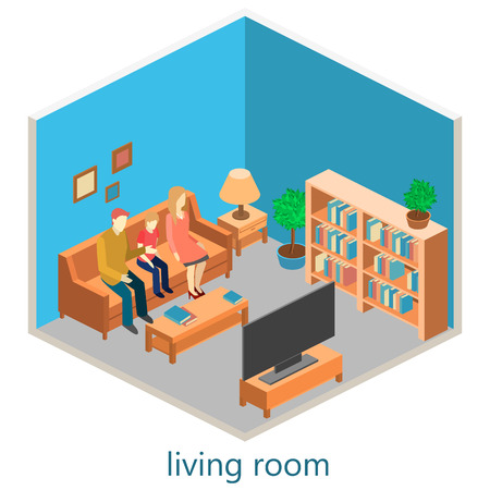 mather: isometric interior of a living room