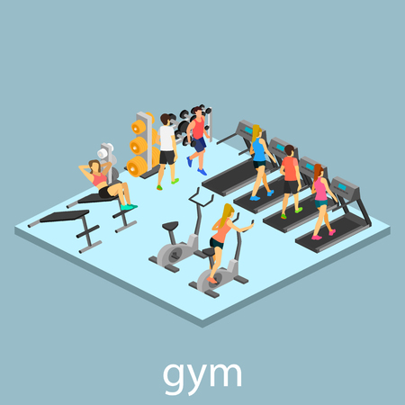 gymnasium: Isometric interior of gym. People involved in sports