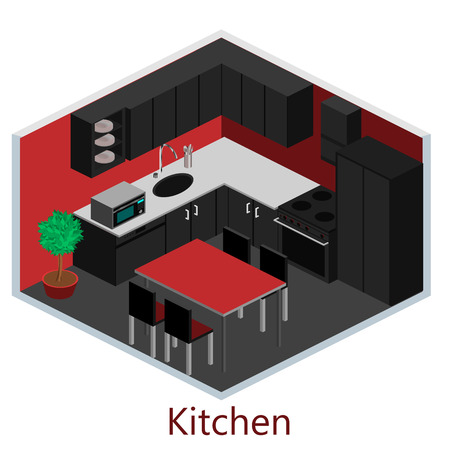 gas cooker: Isometric interior of rooms in the house Illustration