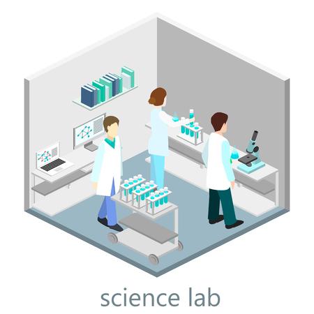 Isometric interior of science laboratory