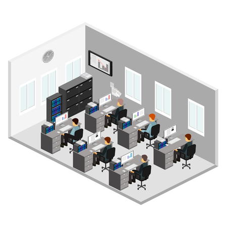 office computer: Flat 3d isometric abstract office floor interior departments concept vector. Illustration