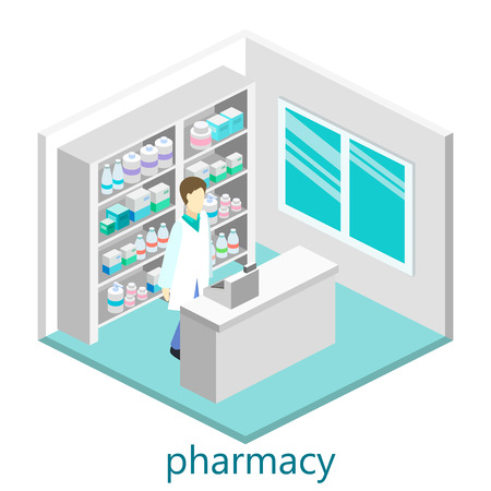 Isometric interior of pharmacy