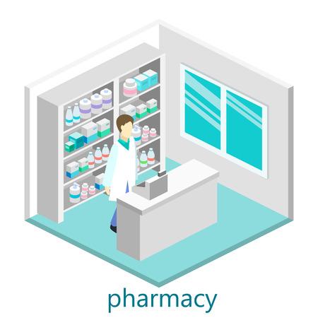 Isometric interior of pharmacy