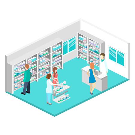 Isométrica interior de la farmacia Foto de archivo - 56410590