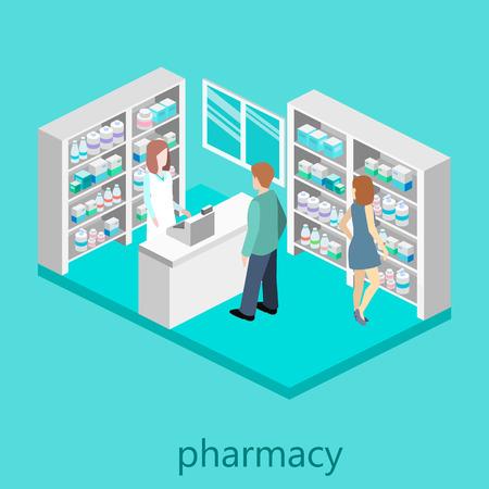 isométrica interior de la farmacia