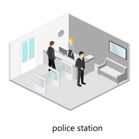 detective agency: Isometric interior of police station.