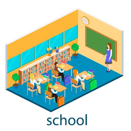Isometric interior of school. Children learn at school