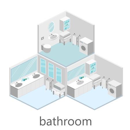 Interior isométrica de baño