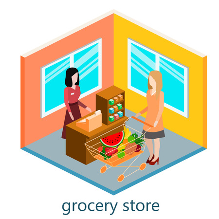 Isometric interior of grocery store. Shopping mall flat 3d  isometric  concept web illustration.