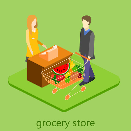 good bye: Isometric interior of grocery store. Shopping mall flat 3d  isometric  concept web illustration.