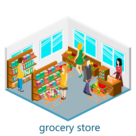 aisle: Isometric interior of grocery store. Shopping mall flat 3d  isometric  concept web illustration.