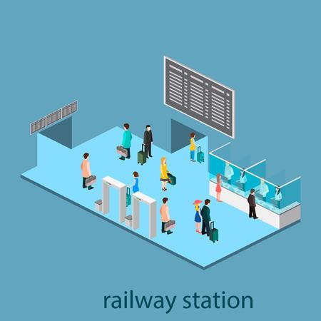 railway station: Isometric interior of railway station. Set of object Illustration