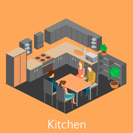 mather: Isometric interior of kitchen. Set of object