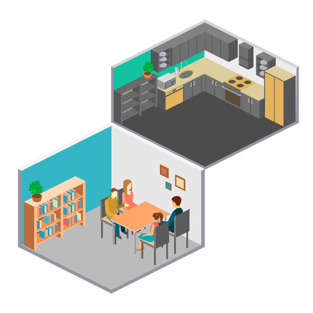 mather: Isometric interior of rooms in the house. Set of object