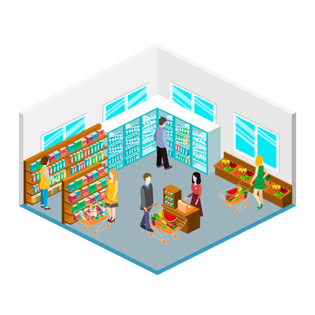 realictic: Isometric intireor of grocery store. Shopping mall flat 3d  isometric  concept web vector illustration. . Set of object