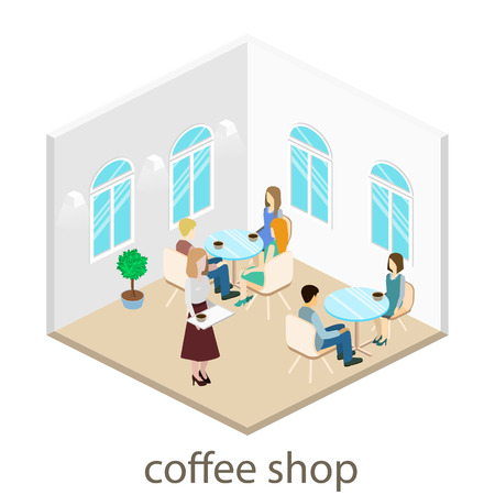 Isometric interior ofcoffee shop. People sit at the table and eating. Vector Illustration