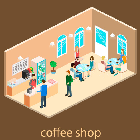 Isometric interior ofcoffee shop. People sit at the table and eating.