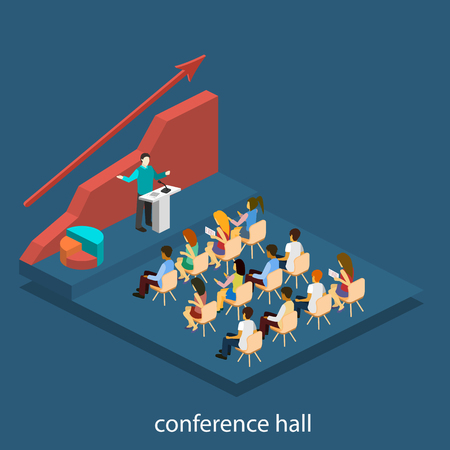 boardroom: Business meeting in an office Business presentation meeting in conference hall. People listen to speakers. Flat 3D illustration.