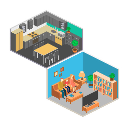 livingroom: Isometric interior of rooms in the house. Set of object