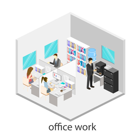 Flat 3d isometric abstract office floor interior departments concept vector.  Office life. Office workspace. People working in offices. Office room. Offices with partitions Vectores