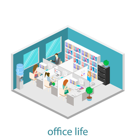 Flat 3d isometric abstract office floor interior departments concept vector. Office life. Office workspace. People working in offices. Office room. Offices with partitions