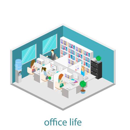 Flat 3d isometrische abstract kantoorverdieping interieur afdelingen begrip vector. Office leven. Office werkruimte. Mensen die werken in kantoren. Kantoor. Kantoren met scheidingswanden