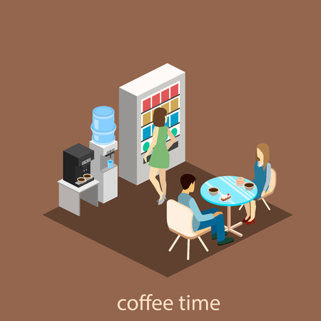 hall monitors: Flat 3d isometric abstract office floor interior departments concept vector.  Office life. Office workspace. People working in offices. Office room. Offices with partitions Illustration