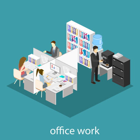 partitions: Flat 3d isometric abstract office floor interior departments concept vector.  Office life. Office workspace. People working in offices. Office room. Offices with partitions Illustration