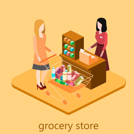 aisle: Isometric intireor of grocery store. Shopping mall flat 3d  isometric  concept web vector illustration.