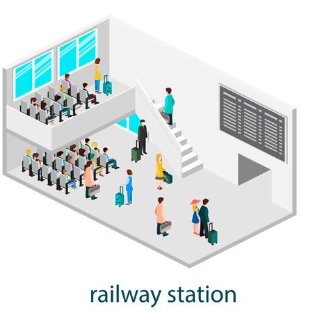 intérieur isomérique de la salle d'attente dans le hall ou gare d'attente.