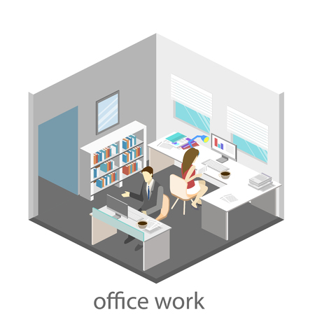 Flat 3d isometric abstract office floor interior departments concept vector. Office life. Office workspace. People working in offices. Office room. Illustration