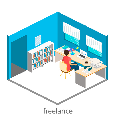 self employed: Isometric interior of home office. Freelancer works at the computer. Flat 3D illustration.  On a table scattered papers Illustration