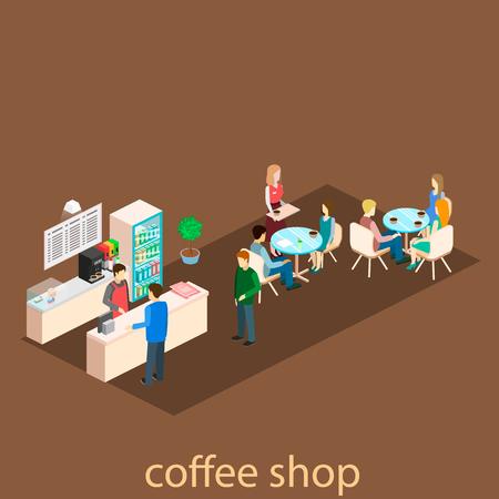Isometric interior ofcoffee shop. People sit at the table and eating. Vektoros illusztráció