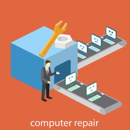 broken computer: isometric  building of computer repair. broken computers come for repairs. Flat 3D illustration. Computer conveyor