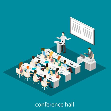 business meeting: Business meeting in an office Business presentation meeting in conference hall. People listen to speakers. . Set of object Illustration