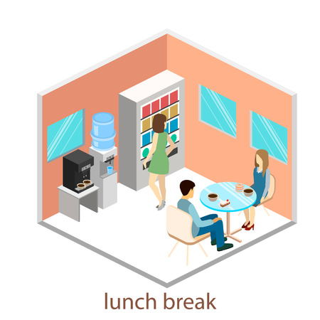 outdoor dining: Isometric interior of a coffee shop in the office. Isometric interior ofcoffee shop. People sit at the table and eating.