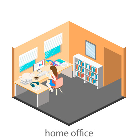 Flat 3d isometric abstract office floor interior departments concept vector. Office life. Office workspace. People working in offices. Office room. Ilustração