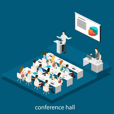 Business meeting in an office Business presentation meeting in conference hall. People listen to speakers. Flat 3D illustration. Ilustração Vetorial